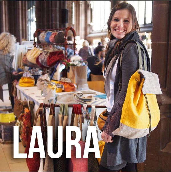 Laura Stitched Up volunteer and expert bag maker