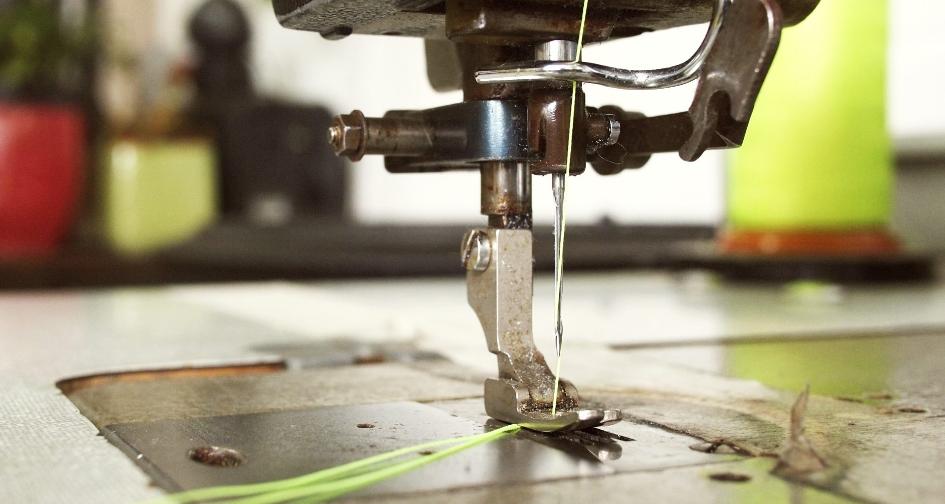 yellow thread on sewing machine