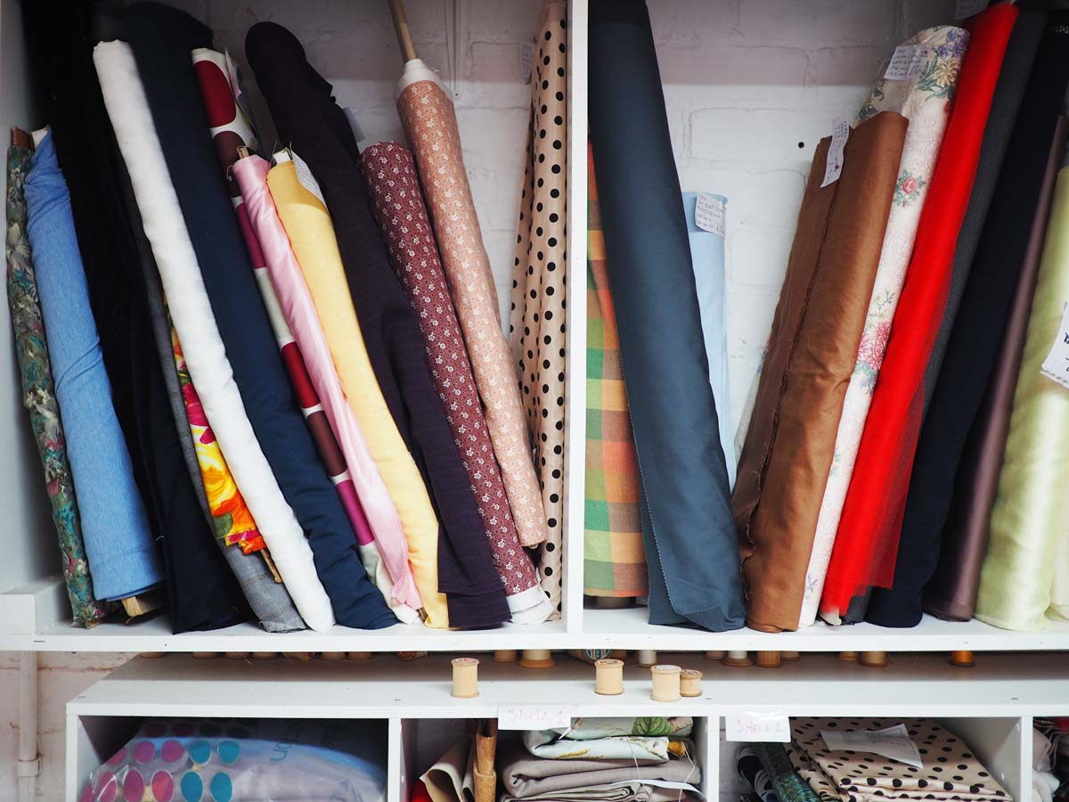 fabrics on shelf