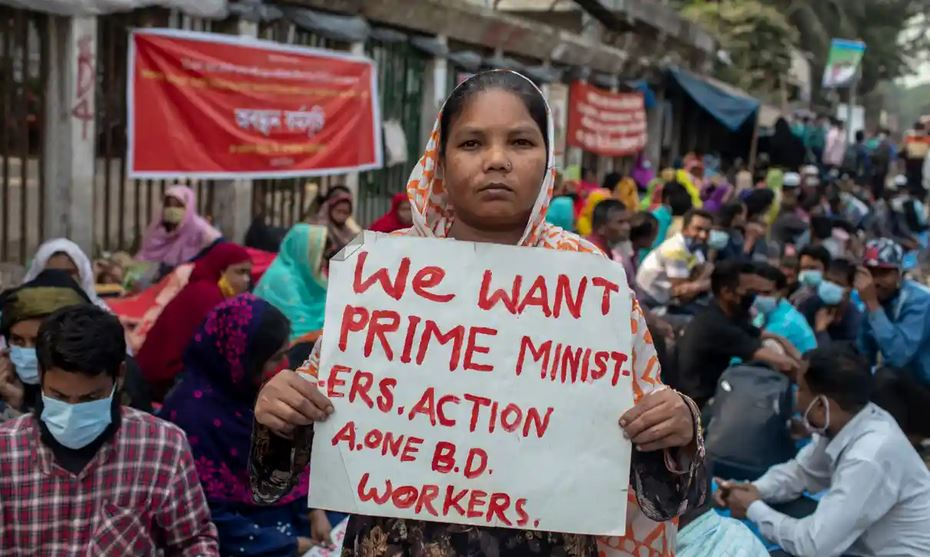 Selina Hossain, one of the laid-off garment workers protesting in Dhaka, Bangladesh. Photograph: Sazzad Hossain/The Guardian